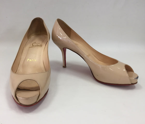 Authentic Christian Louboutin Prive Nude Peep Toe 75 Women's Size 36.5 / 5.5