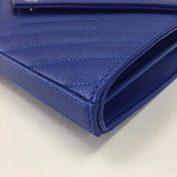 Authentic Saint Laurent Royal Blue Grained Leather Envelope WOC