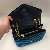 Authentic Saint Laurent Jade Velvet LouLou Bag