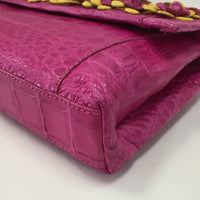 Authentic Nancy Gonzalez Fuchsia Glazed Croc Flower Gotham Clutch