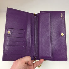 "Load image into Gallery viewer, Ferragamo Grape Saffiano ""Miss Vara"" Wallet on Chain"