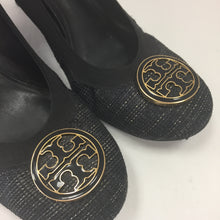 Load image into Gallery viewer, Tory Burch Black & Metallic Gold Tweed Logo Pumps Women's Size 7 1/2