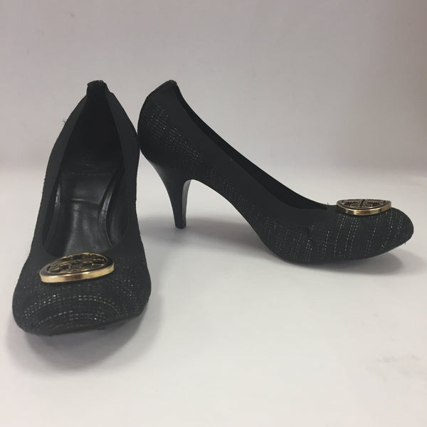 Authentic Tory Burch Black & Metallic Gold Tweed Logo Pumps Women's Size 7 1/2