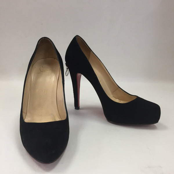 Authentic Christian Louboutin Rolando Black Suede Zip Heels 120 Women's Size 37 (Fits 6.5)