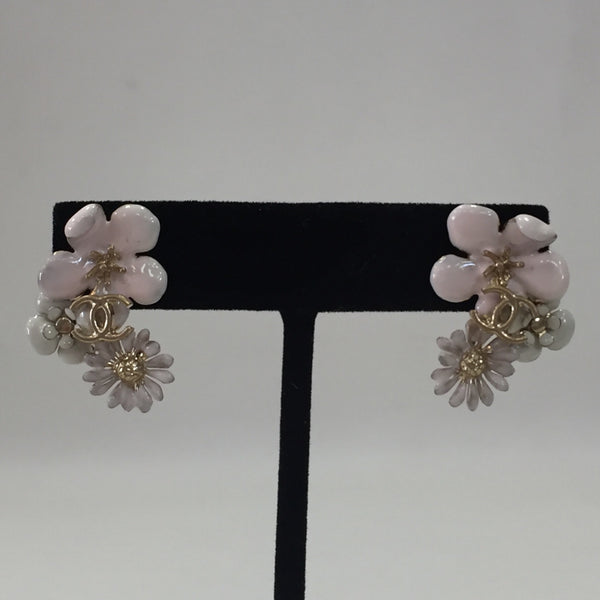 Authentic Chanel Pink Enamel Camellia Motif Earrings