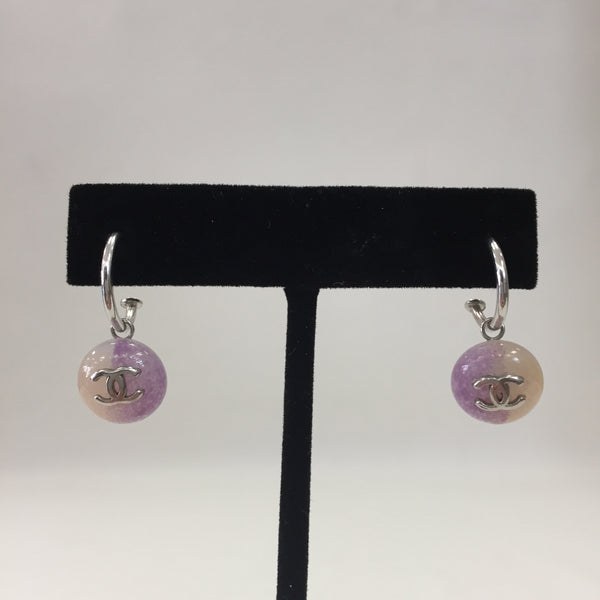 Authentic Chanel Pierced Silver/ Light Purple Earrings