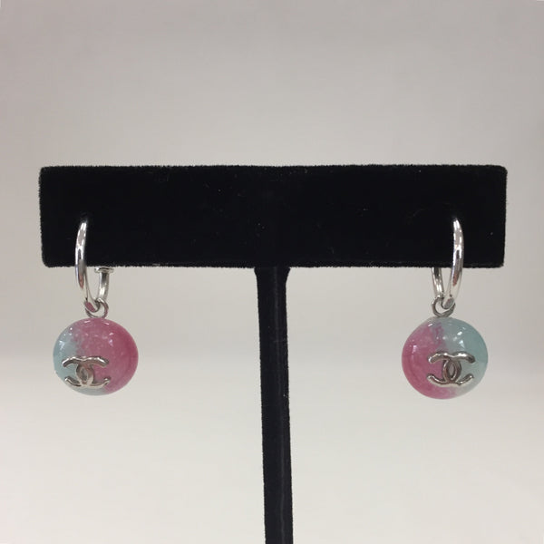 Authentic Chanel Pierced Silver/ Pink and Blue Earrings