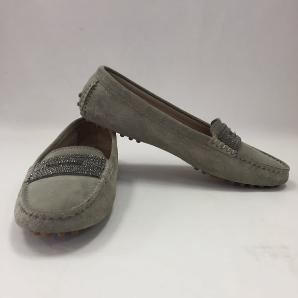 Authentic Brunello Cucinelli Green Suede Loafers Women's Size 7
