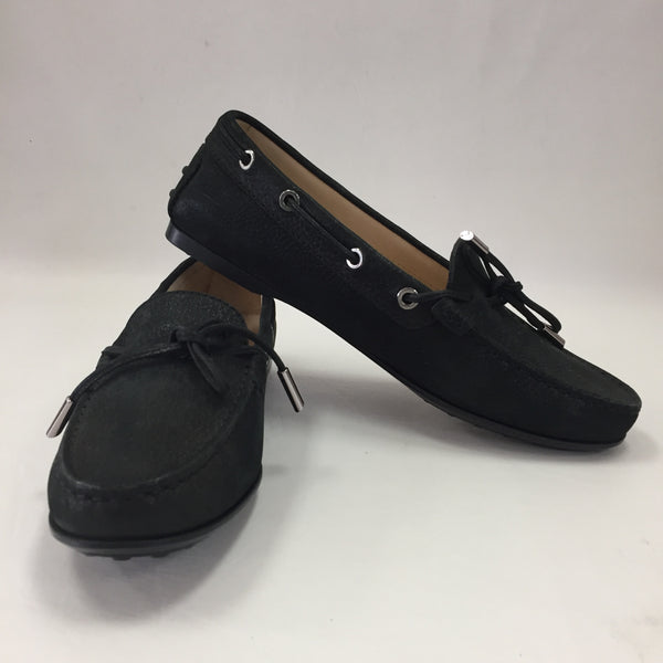 Authentic Tod's Black Electric Suede Driving Moccasins Women's Size 7