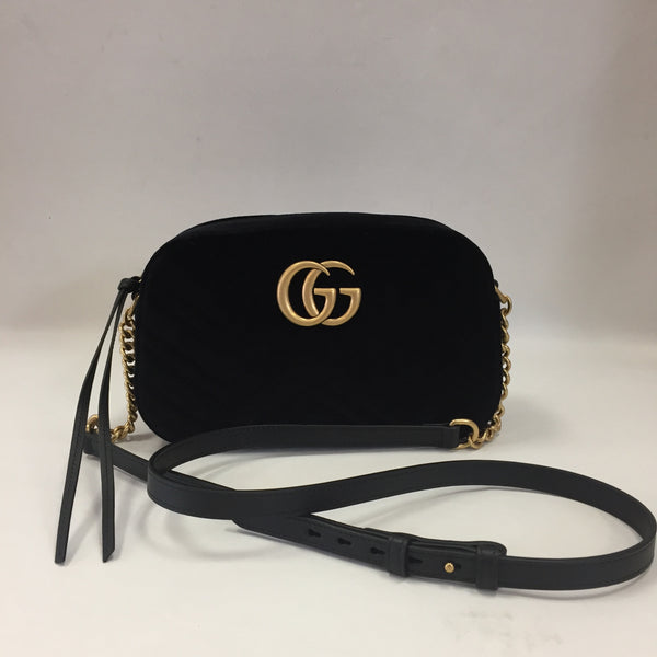 Gucci Black Small Marmont Velvet Camera Bag