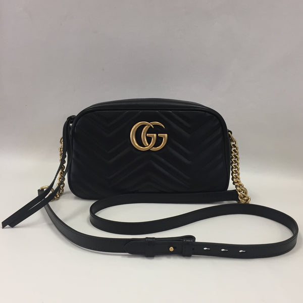 Gucci Black Leather Marmont Camera Bag Small