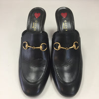 Authentic Gucci Black Leather Princeton Mules Women's Size 39