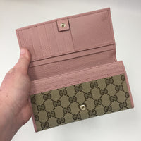 Gucci Supreme Canvas Wallet With Pink Trim