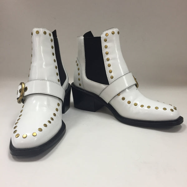 Authentic Coach White/Black Nora Chelsea Studded Leather Boots Women's Size 5