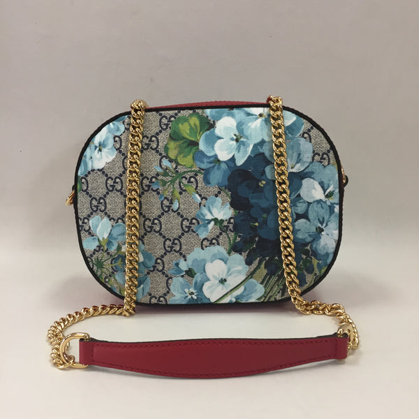 Authentic Gucci Blue Blooms Round Camera Bag