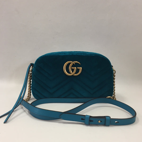 Authentic Gucci Marmont Turquoise Velvet Camera Bag