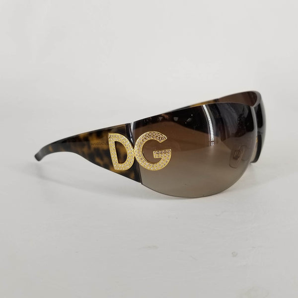 Authentic Dolce & Gabbana Madonna Tortoiseshell Wrap Shield Sunglasses 502/13