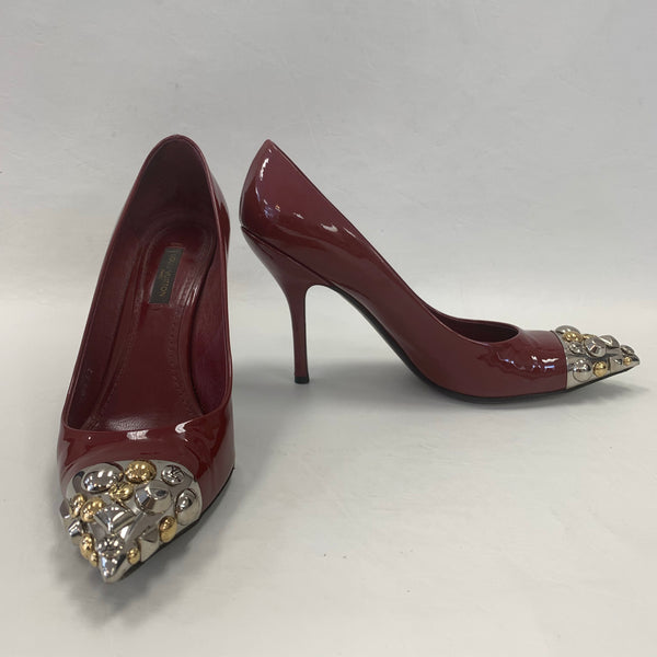 Authentic Louis Vuitton Dark Red Charm Pumps
