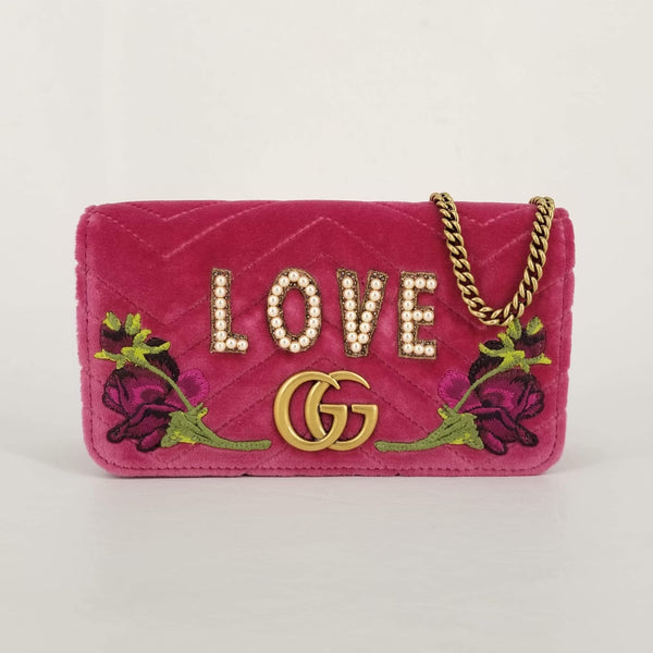 Authentic Gucci Pink Velvet 'Love' Mini