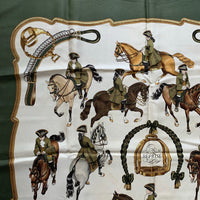 Authentic Hermes Green Horse Riding LeDoux Silk Scarf