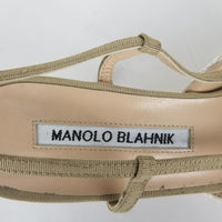 Authentic Manolo Blahnik Galopmod Beige Floral Raffia Slingbacks
