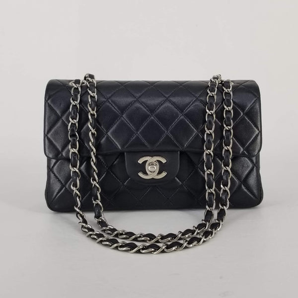 "Authentic Chanel Black Lambskin 9"" Double Flap"