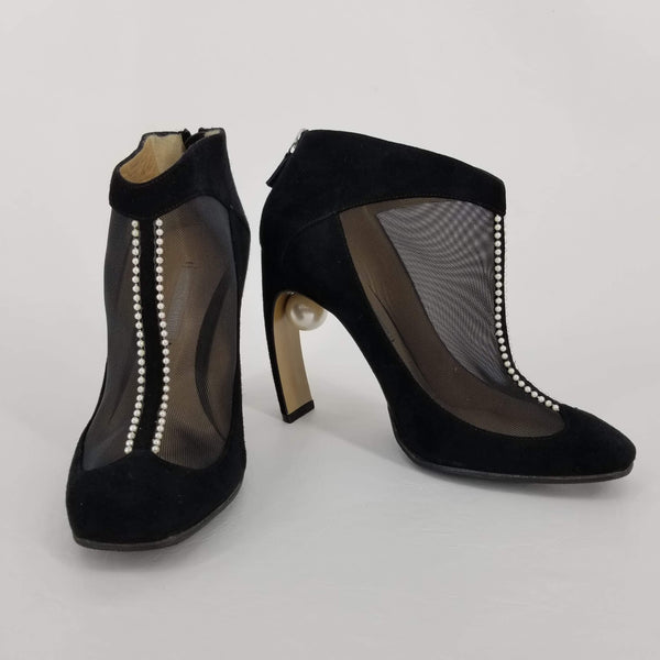 Authentic Nicholas Kirkwood Black Suede and Mesh Lola Pearl Booties