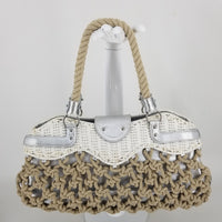Authentic Salvatore Ferragamo Beige Straw and Macrame Tote