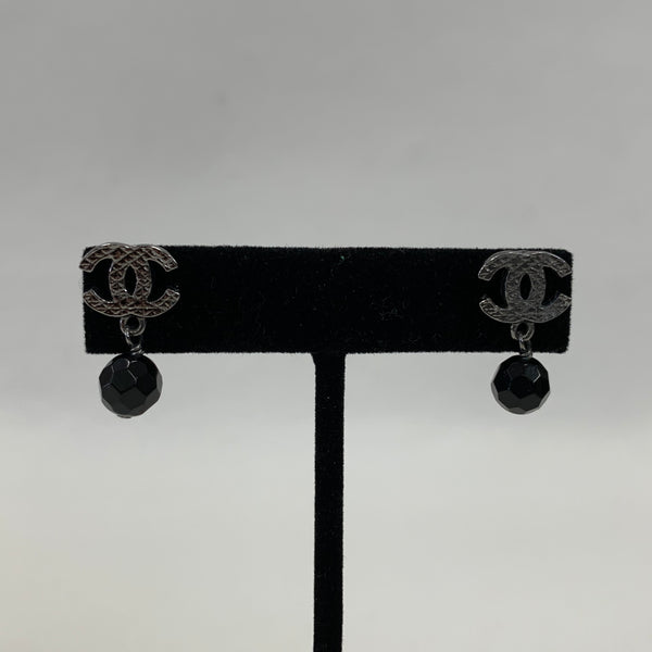 Authentic Chanel Silver Tone Drop Earrings