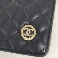 Authentic Chanel Black Quilted Yen Wallet
