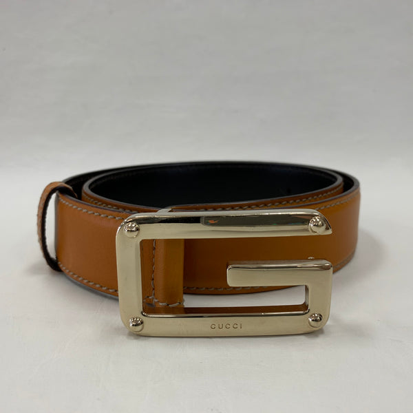 Authentic Gucci Marigold Leather Belt with G Buckle