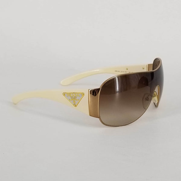 Authentic Prada Cream and Bronze Wrap Shield Sunglasses SPR57L