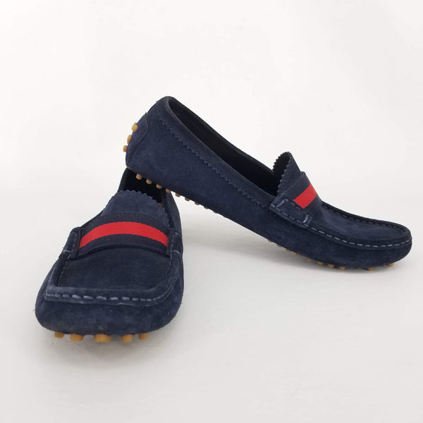 Authentic Gucci Navy Suede Web Driving Loafers
