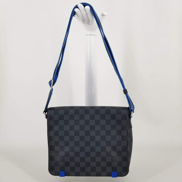 Authentic Louis Vuitton Graphite Damier District PM Cross Body Bag