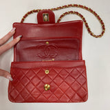 "Authentic Chanel Red 9"" Double Flap"