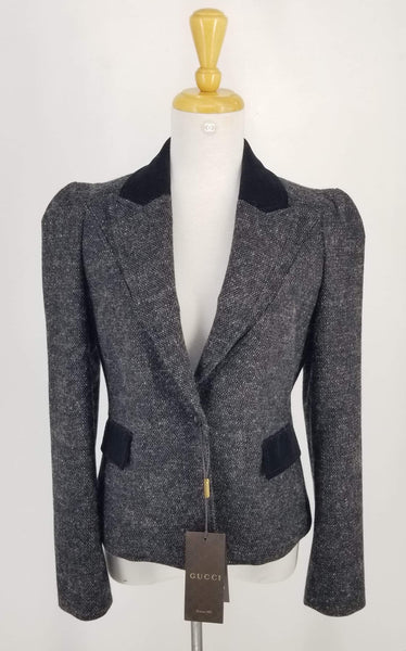 Authentic Gucci Black Tweed Riding Jacket Sz M