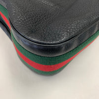 Authentic Gucci Black Leather Heritage Tote with Web