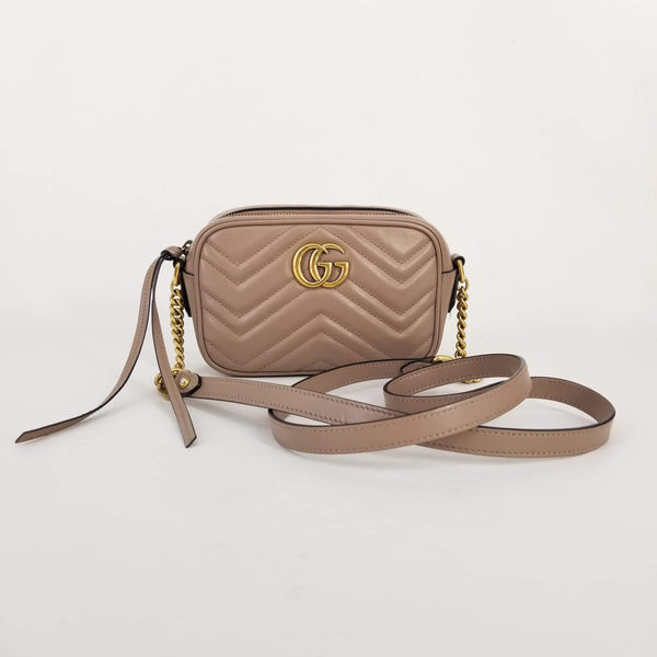 Authentic Gucci Rose Beige Mini Marmont Camera Bag