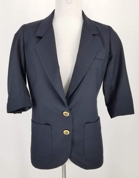 Authentic Smythe Navy Wool Blazer 3/4 Sleeve