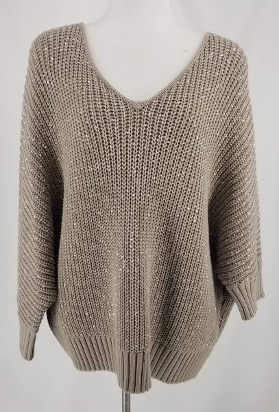 Authentic St John Taupe Pullover Chunky Knit Sweater Sz XL