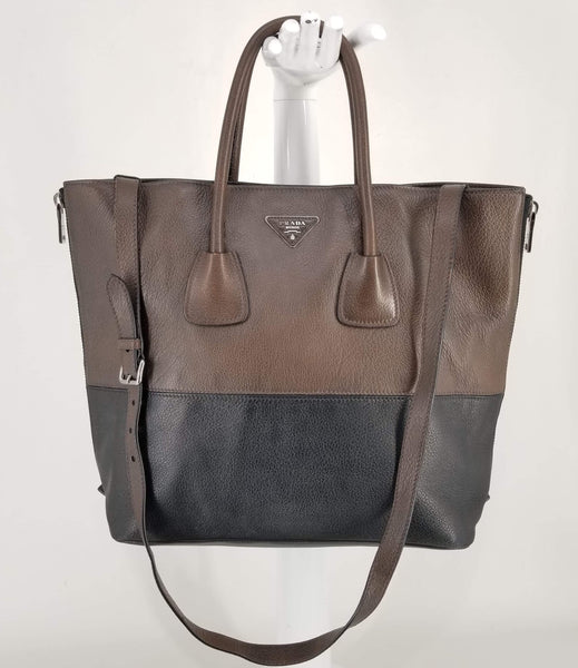 Authentic Prada Brown/Black Deerskin Expandable Tote