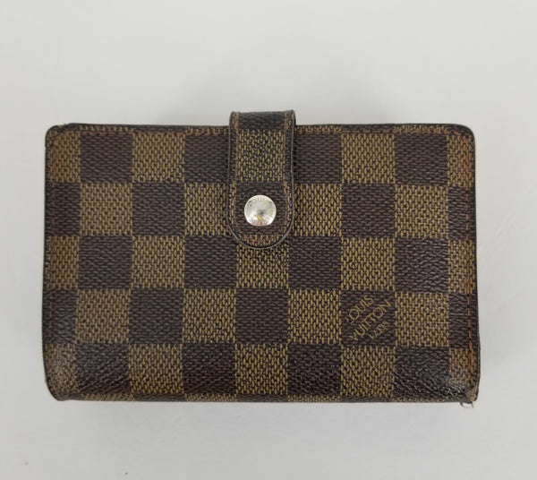 Authentic Louis Vuitton Vintage Damier Ebene French Wallet