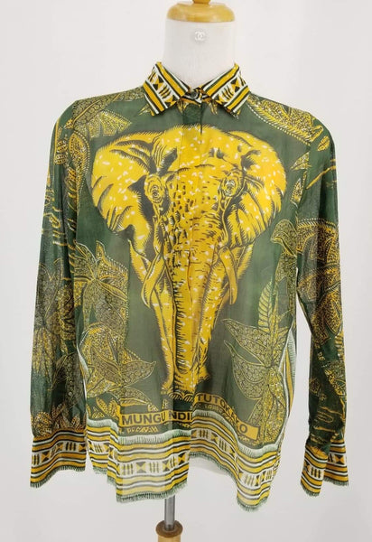 Authentic Valentino Green/Gold Elephant Print Cotton Top Sz 10