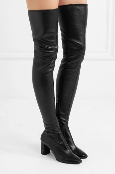 Authentic Saint Laurent Black Thigh High Leather Boots