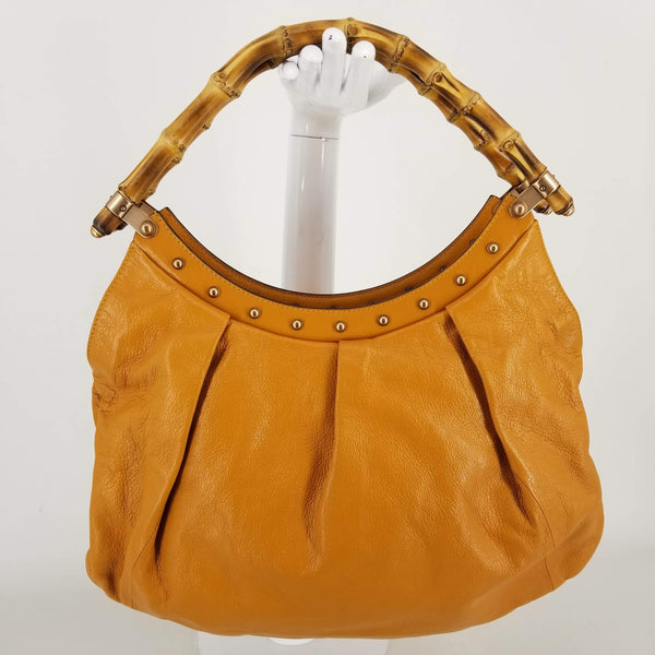 Authentic Gucci Pumpkin Studded Leather Bamboo Tote