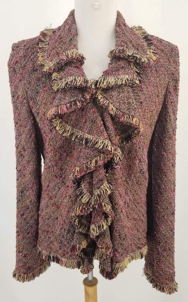 Authentic St. John Couture Plum Tweed Jacket Sz 10