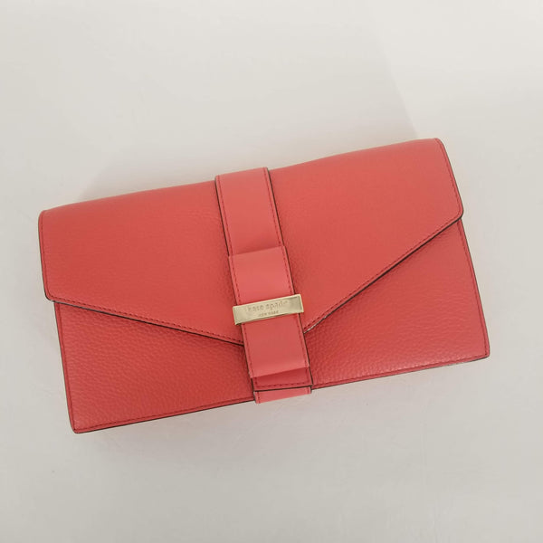"Authentic Kate Spade Coral ""Havana"" Bow Clutch"