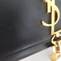 Authentic Saint Laurent Black Smooth Leather Kate Tassel Bag