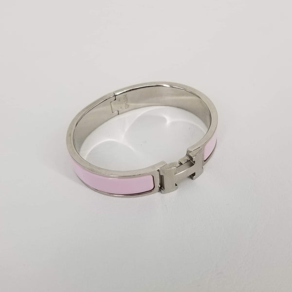 Authentic Hermes Silver & Rose Dragee Enamel Clic H Bracelet PM