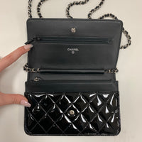 Authentic Chanel Black Patent WOC Wallet On Chain